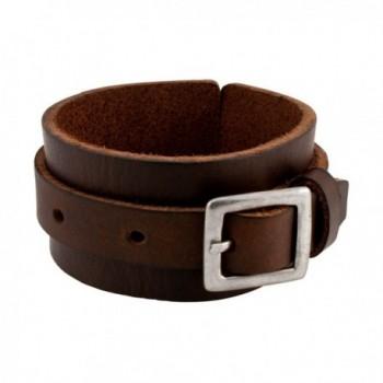 Napoli Leather Distressed Leather Adjustable Belt Buckle Strap Bracelet 10 Inch - Brown - CJ12HG1IYLJ