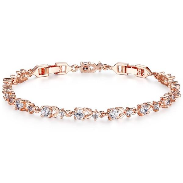 Bamoer Bracelets Sparkling Zirconia Crystal - Clear Rose - CM11RHEFQX5