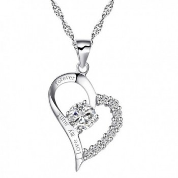 """Sterling Silver Heart """"I Love My Aunt Forever"""" Necklace Cubic Zirconia Engraved Pendant with Chain - CH17YDYC84N"""