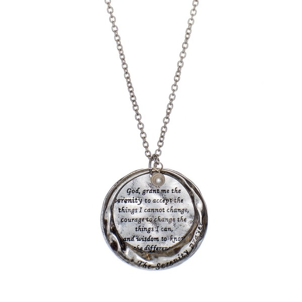 The Serenity Prayer Stamped Round Hammered Disc Pendant Necklace - CY188X7IEY9