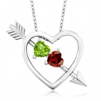 1.05 Ct Green Peridot Red Garnet 925 Sterling Silver Heart & Arrow Pendant - CV186RQH2W7