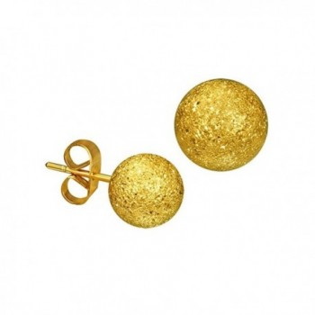 Gold-tone Stainless Steel Stardust Sandblasted Bead Ball Stud Earrings 6mm - CH11JGET9FF