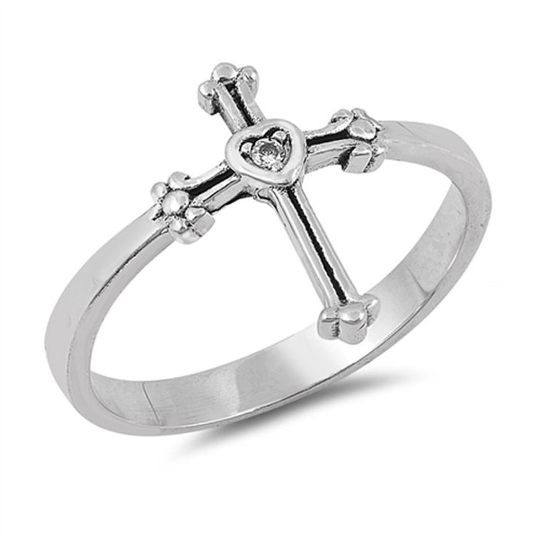 Solitaire Clear CZ Heart Cross Ring Sterling Silver Christian Band Sizes 4-10 - CV184Y7N4WZ
