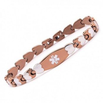 Free engraving Fashion Double Heart Medical id bracelet for women - BROWN - CA186R60RMY