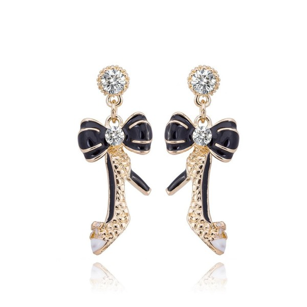 DongStar Fashion Jewelry Austrian Crystal Alloy Dangle Princess Shoe Bow Gold Color Earrings - CF12NRFFGHE