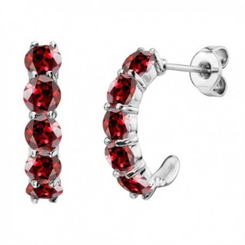 "Sterling Silver Round Gemstone ""J"" Hoop Earrings - Garnet - CK12MY1C57E"