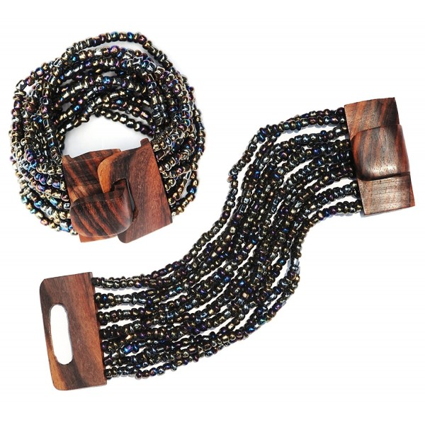 "Rainbow Bronze 14 Strand Elastic Stretchy Glass Beaded Bracelet With Wooden Buckle Clasp - 2"" Wide - CY11C22K6O1"