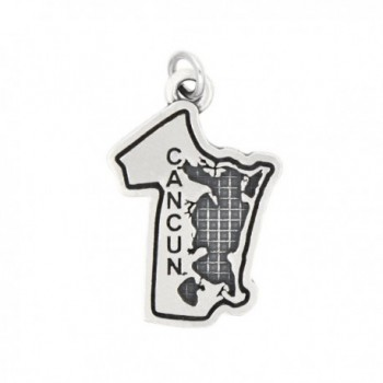 Sterling Silver Oxidized Travel Mexico Cancun Charm (with Options) - C4182XE9DAI