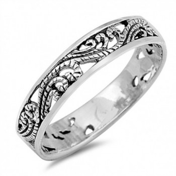 Filigree Cutout Fashion Stackable Ring New .925 Sterling Silver Band Sizes 3-10 - CE12GTVODNP