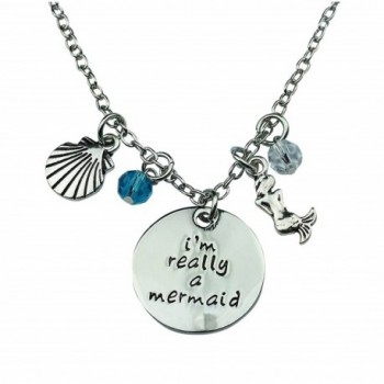 Art Attack Silvertone I'm Really A Mermaid Sea Shell Water Ocean Blue Bead Pendant Necklace - C412I1RSVG5