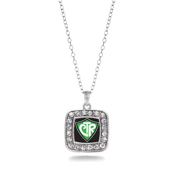 CTR Charm Classic Silver Plated Square Crystal Necklace - CO11MCHVXE3