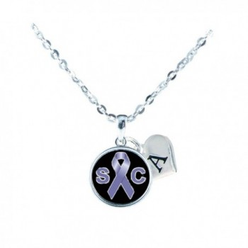 Custom Stomach Cancer Awareness Silver Necklace Jewelry Choose Initial - CU12N60RSEE