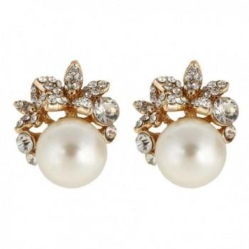 EVER FAITH Gold-Tone Austrian Crystal Ivory Color Simulated Pearl Flower Stud Earrings Clear - C711RVJ99EX