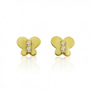 10KT Gold Butterfly With CZ Screw Back Earrings - CQ118S9JUPX