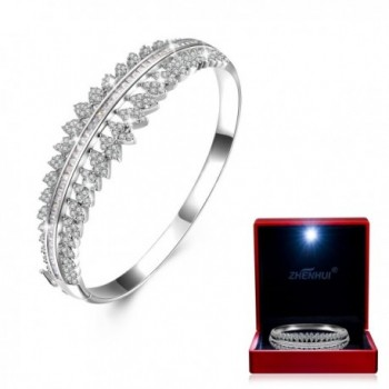 White Gold Plated Cubic Zirconia Women Bangle Bracelet For Mom Wife Birthday Christmas Gifts - White - CW186ATI2CD