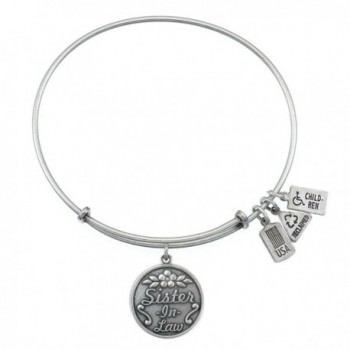 Sister-In-Law Charm Bangle Silvertone Finish - C911WDG8XCN