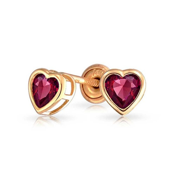 Bling Jewelry 14K Gold Simulated Ruby CZ Heart Baby Safety Screwback Studs - CU11ESOC0TP