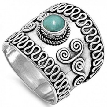 Simulated Turquoise Bali Braided Band .925 Sterling Silver Ring Sizes 5-12 - CN11NJ7LRA9