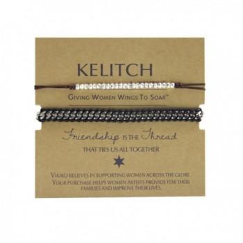 KELITCH Leather Bracelets Handmade Fashion - Black - CP128L00HYV