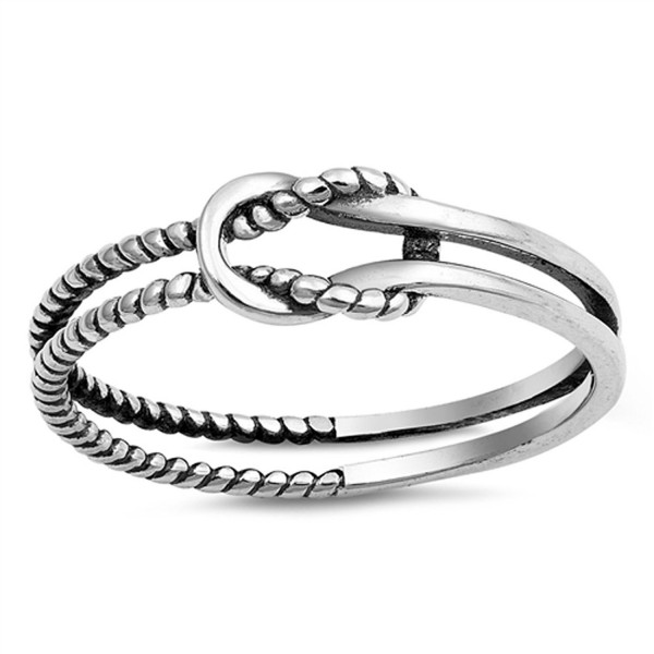 Oxidized Infinity Love Knot Rope Loop Ring .925 Sterling Silver Band Sizes 3-10 - C3183OGW8X4