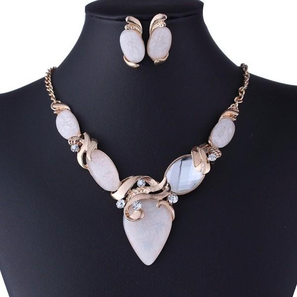 Winson New Women White Resin Stone Bead Golden Chain Necklace Earring Set - C111LU3AWV9