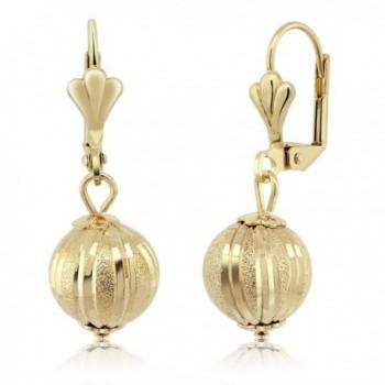 """Stunning 1-1/4"""" Dangle Spheres Gold Plated Brass Lever-Back Women's Earrings - C5116F2PKCH"""