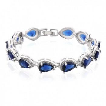 GULICX Silver Tone Austrian CZ Blue Sapphire-Color Link Lover Bangle Teardrop Women Tennis Bracelet - CN12N29E8P1