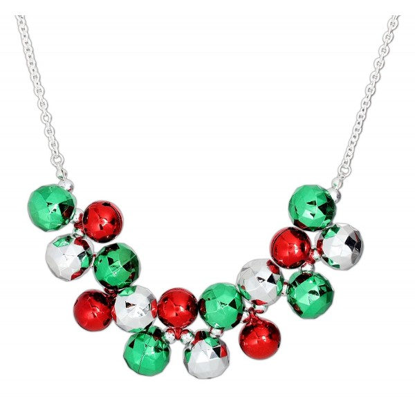 Periwinkle 18'' Chunky Red and Green Jingle Bell Necklace - C6126XWPZ6T