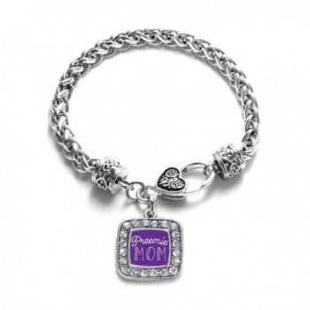 Preemie Mom Classic Silver Plated Square Crystal Charm Bracelet - C211U7NYQ5H