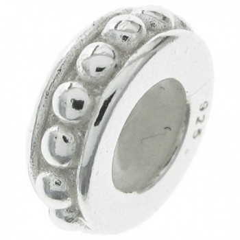 Dreambell Bright .925 Sterling Silver Dots Round Ring Rubber Stopper Bead For European Charm Bracelets - C811DLMHL85
