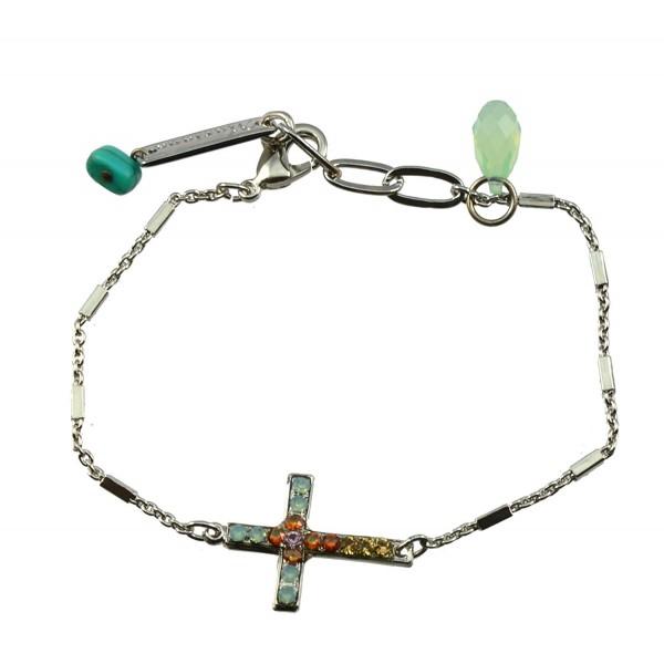 "Mariana ""Judy's Favorite"" Silver Plated Crystal Sideways Cross Bracelet - CN11OF2Y3KT"