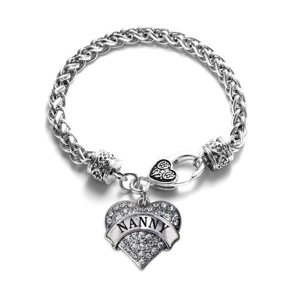 Nanny 1 Carat Classic Silver Plated Heart Clear Crystal Charm Bracelet Jewelry - CS11VDKYGM1