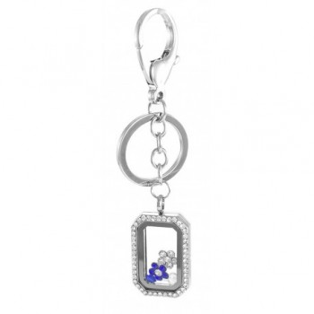 Floating Rectangle Rhinestone Locket with Choice of 6 Charms by BG247 - Silver Keychain - CM12HJSLXJJ