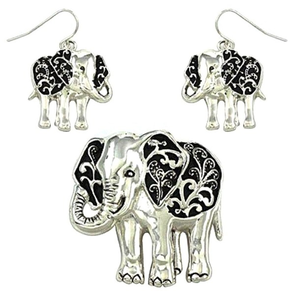 """DianaL Boutique Lucky Elephant Pendant Necklace and Earrings Set with 24"""" Snake Chain Gift Boxed - C611F18EDYR"""