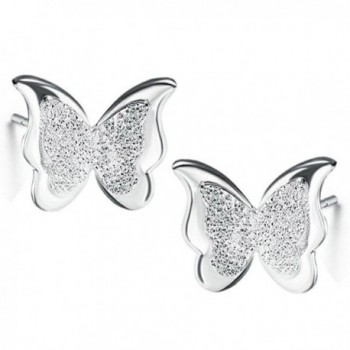 Mariafashion Sterling Hypoallergenic Butterfly Earrings - White - CF17YTWSXUN