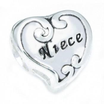Sterling Silver Love Niece Heart Flower Family Bead For European Charm Bracelets - CH11L5U81S9