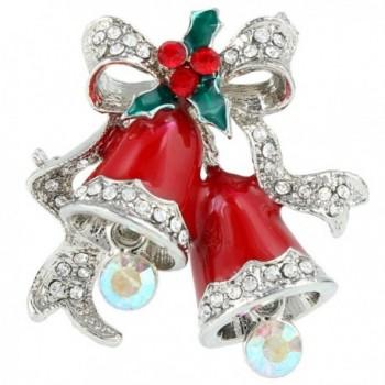 EVER FAITH 2 Red Jingle Bell Mistletoe Bowknot Brooch Austrian Crystal - Silver-Tone - CW11PYU7QEB