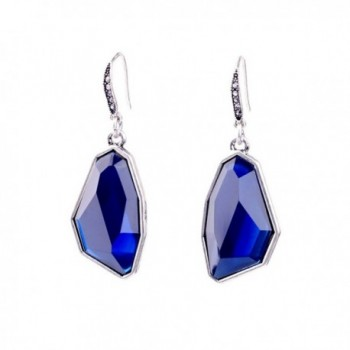 Elegant Silver Plated Blue Crystal Signature Drop Earrings Created with Swarovski for Brides Proms - Blue - C3185EWAD8D