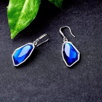 Gemstone Sapphire Bridesmaid Earrings Dangling in Women's Drop & Dangle Earrings