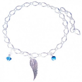 Large Bridal Ankle Bracelet with Angel Wing- Simulated Pearl and Blue with Clear Crystals - CQ12HC1H4L9