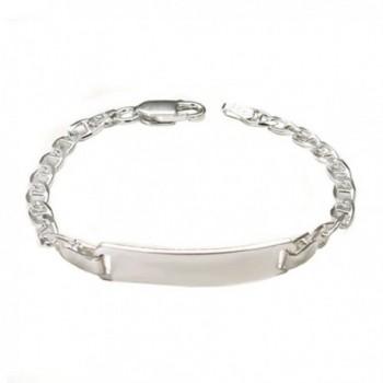 Sterling Silver 6MM Italian Fancy Baby ID Bracelet with Lobster Clasp Closure - CU1242BWIV3