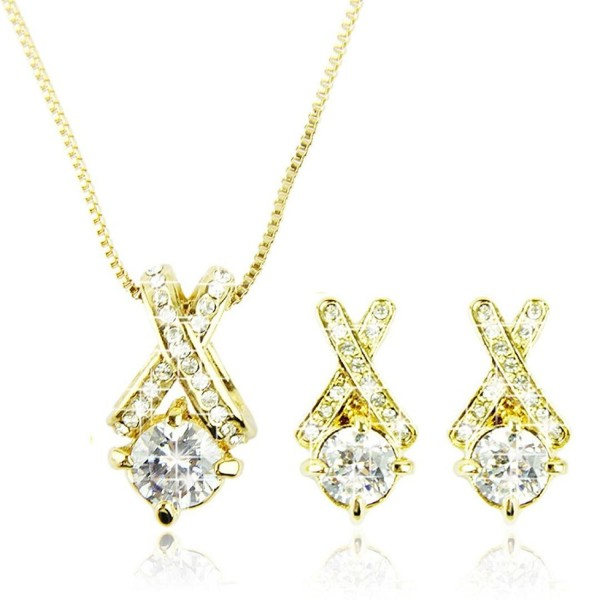 Jewelry Sets - BESSKY Bridal Jewelry Sets Earrings Long Necklace Pendants Crystal Wedding Necklace - CZ12B906IQB