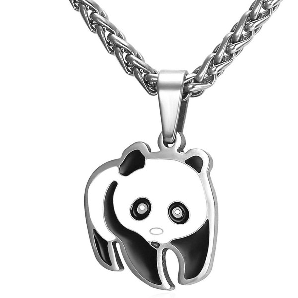 Panda Bear Pendant Necklace in Black Gift Box - C712JE0EUDB
