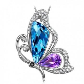 SIVERY Mothers Butterfly Necklace Swarovski - CA186RIKS37