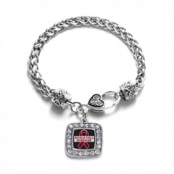 Sickle Cell Awareness Classic Silver Plated Square Crystal Charm Bracelet - CO11K6OBNHV