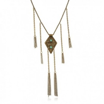 Brass Egyptian Antique Pendant with Dangling Tassels Adjustable 29 Inch Cable Link Chain Jewelry Set - CR11O48ZSBR