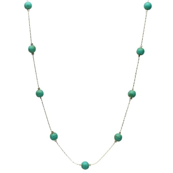 Simulated Turquoise Stone Illusion Station Sterling Silver Chain Necklace - C611B3Z9QB7