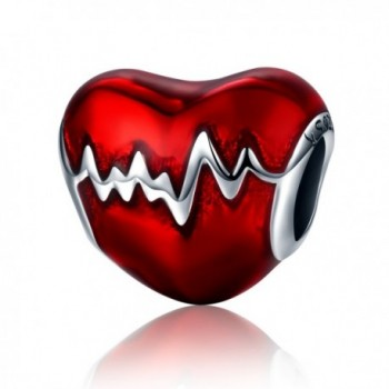 925 Sterling Silver Heartbeat Charm Bead Red Enamel Love Heart Charm Love In My Heart Knot Charm Beads - CX186WCL5LT
