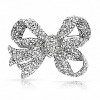 Bling Jewelry Clear Crystal Ribbon Bridal Brooch Bow Pin Silver Plated - CP11B8X10NB