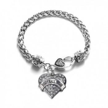 Football Mom Pave Heart Charm Bracelet Silver Plated Lobster Clasp Clear Crystal Charm - CV123HZBKR3